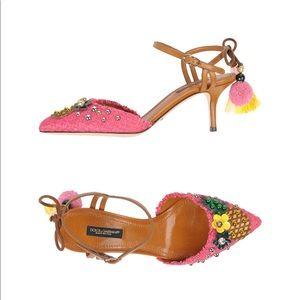 New Dolce & Gabanna Pineapple Sling Back Sandals